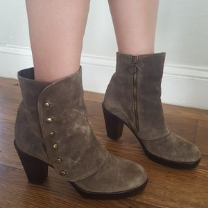 Fiorentini + Baker Olive Suede Ankle Boots 38
